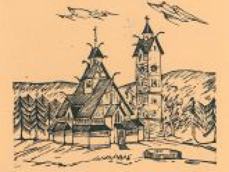 Kościół Wang w linorycie Marka Lerchera
