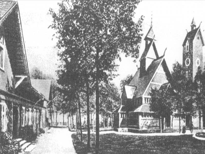 Kościół Wang na starej pocztówce