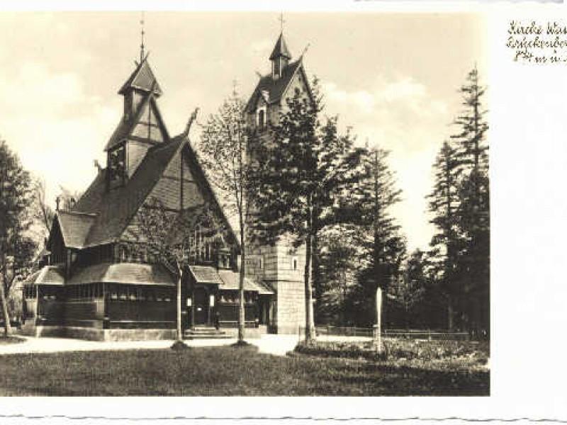 Kościół na starej pocztówce