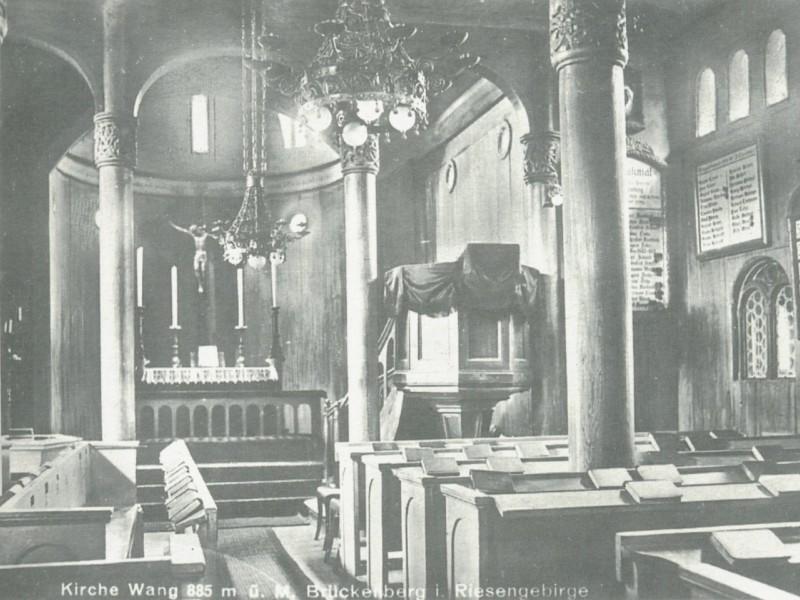 Wnętrze kościoła Wang z 1934 roku